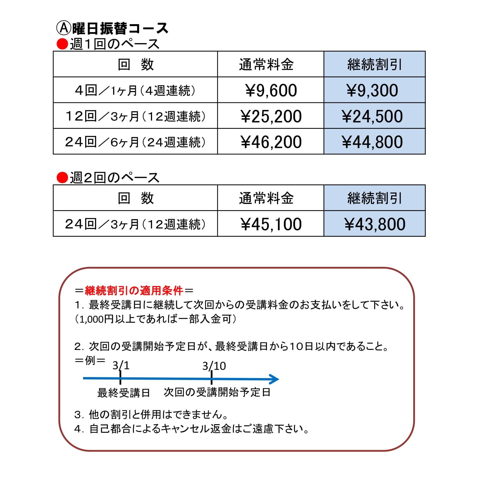 曜日振替コース価格表