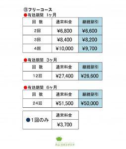 フリーコース価格表